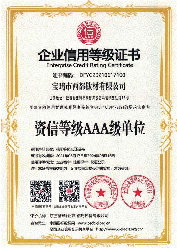 Enterprise credit rating certificate - AAA cr...